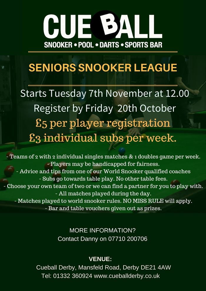 CUEBALL SENIORS SNOOKER LEAGUE - Click to enlarge the image set